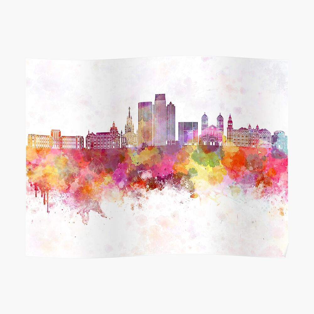 Medellin-Skyline im Aquarellhintergrund Poster