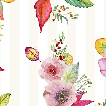 Autumn Watercolor Flowers by rosescreation