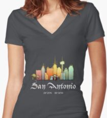 San Antonio city Women's Fitted V-Neck T-Shirt