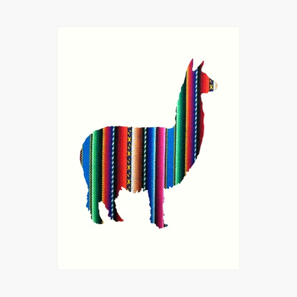 Llama Textile Design Inca Ink Original South American Inca Textile BG Art Print