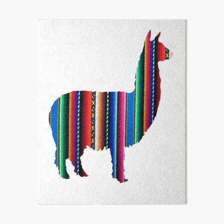 Llama Textile Design Inca Ink Original South American Inca Textile BG Art Board Print