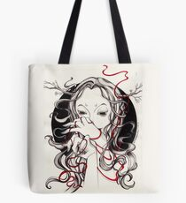 Witch with red string Tote Bag