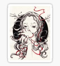 Witch with red string Sticker