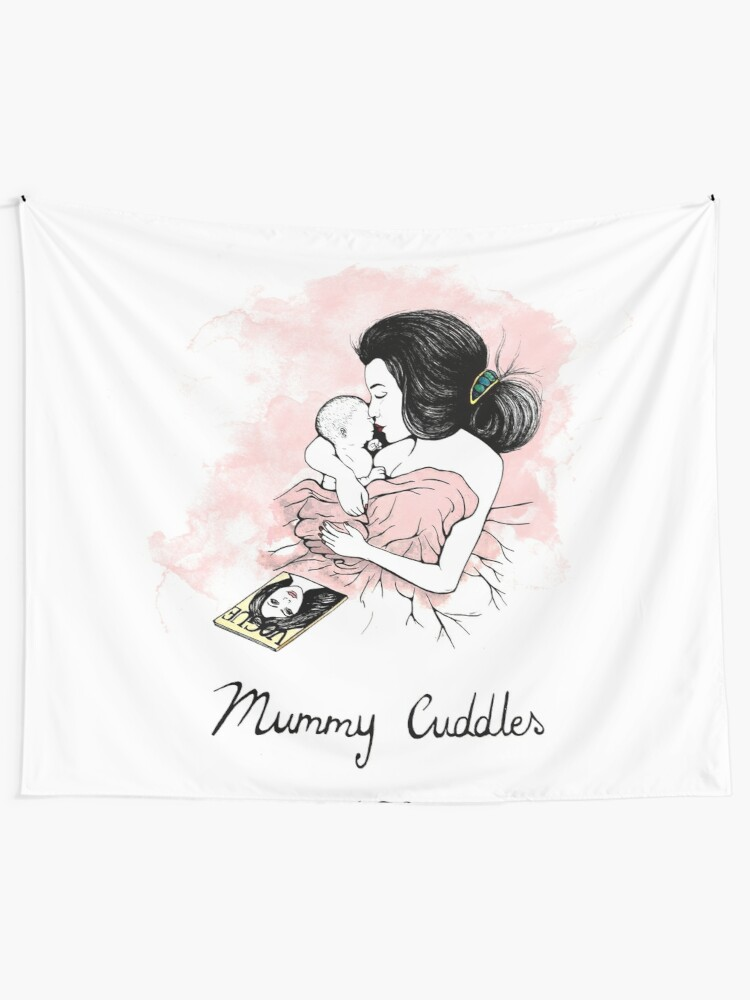 Alternate view of Mummy Cuddles Tapestry