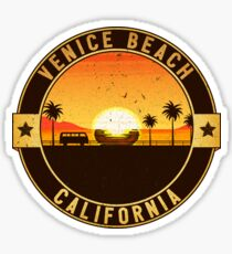 SURFING VENICE BEACH CALIFORNIA SURF BEACH VACATION PALM TREE SURFER VOLKSWAGEN Sticker