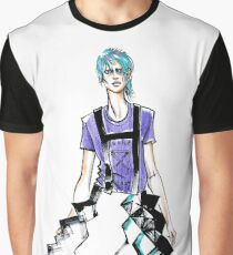 fashion #62: Girl with blue hair and a skirt-origami Graphic T-Shirt