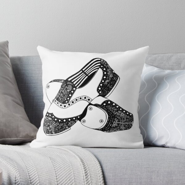 Zentangle Tap Shoes Throw Pillow