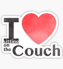 I Heart Sitting On The Couch Sticker