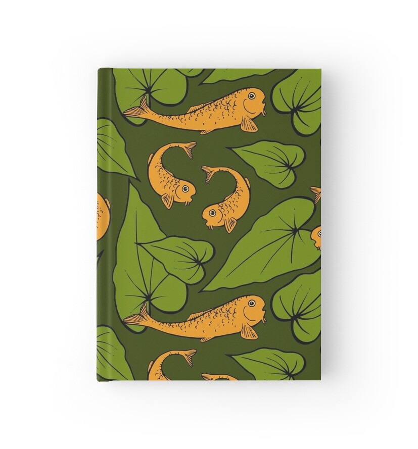 Koi pond pattern hardcover journals by olooriel redbubble for Koi pond bubble