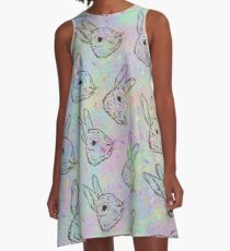 Rainbow Rabbits A-Line Dress