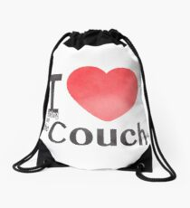 I Heart Sitting On The Couch Drawstring Bag