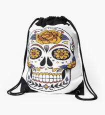 Colorful Skull Image Drawstring Bag