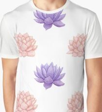 Watercolor Pink and Purple Succulent Pattern Graphic T-Shirt