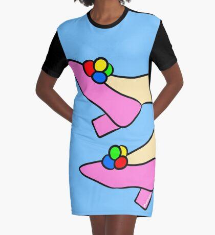 Pom Pom Shoes Graphic T-Shirt Dress