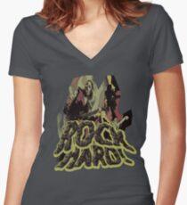 Rock Hard Women's Fitted V-Neck T-Shirt