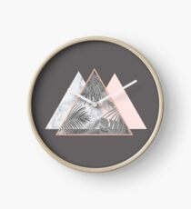 Blush Marble Gray Geometric Scandinavian Pattern  Clock