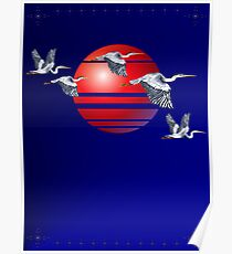 Blue Herons and Sun Poster