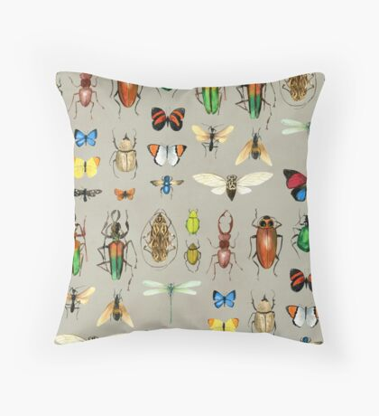 The Usual Suspects - Insects on grey Throw Pillow