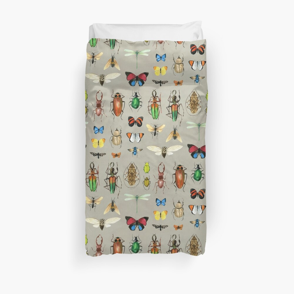 The Usual Suspects - Insects on grey - watercolour bugs pattern by Cecca Designs Duvet Cover