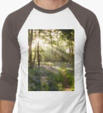 Bluebell woodland path with beautiful sunrise through the trees Men's Baseball ¾ T-Shirt