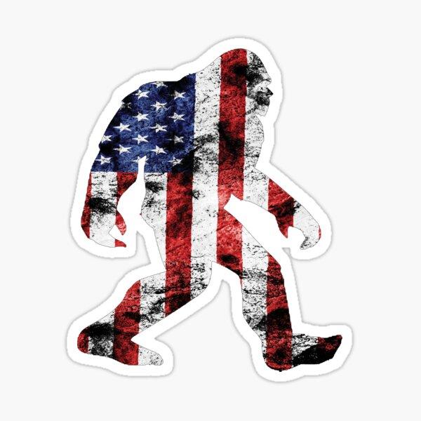 American Flag Bigfoot Sticker