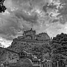 The Castle from St Cuthberts - B&W by Tom Gomez