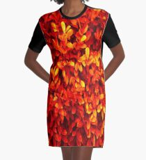 Red Leaves Graphic T-Shirt Dress