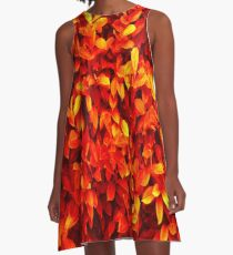 Red Leaves A-Line Dress