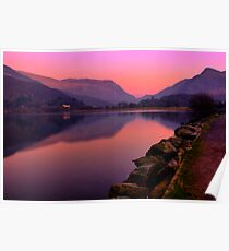 Tranquil mountain sunset Poster