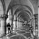 Doge's Palace Colannade - B&W by Tom Gomez