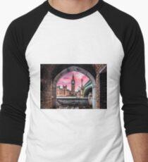 London Photography Big Ben Pink Men's Baseball ¾ T-Shirt