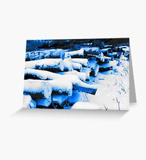 Soft Snow on Tree Logs Greeting Card