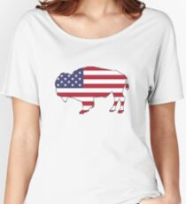 American Flag – Bison Women's Relaxed Fit T-Shirt