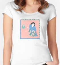 Asian woman with fan in traditional style Women's Fitted Scoop T-Shirt