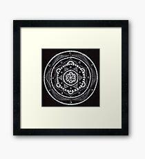 White on Black Mandala Framed Print