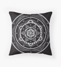White on Black Mandala Throw Pillow