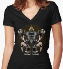 Retro 50's Robot And Fishnet Friends Women's Fitted V-Neck T-Shirt