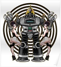 Retro 50's Robot And Fishnet Friends Poster