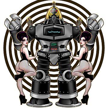 Retro 50's Robot And Fishnet Friends by DeadMonkeyShop