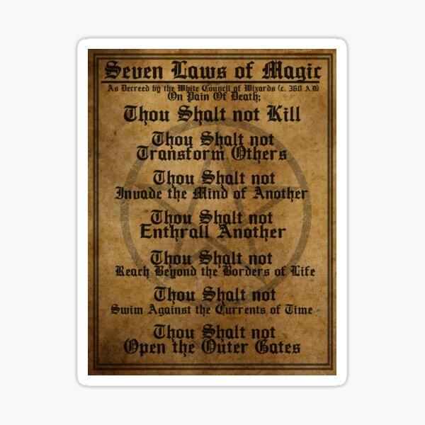 THE SEVEN LAWS OF MAGIC Sticker