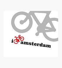 I Love Amsterdam - Red Bike Photographic Print