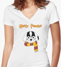 Harry Pawter Dog Wizard Women's Fitted V-Neck T-Shirt