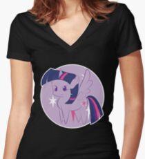Twilight Sparkle   My Little Pony Chibi Women's Fitted V-Neck T-Shirt