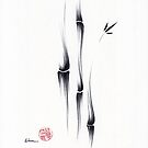 Exhale - Ink brush bamboo painting of peace and tranquility by Rebecca Rees