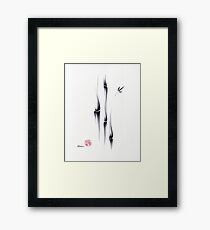 Exhale - Ink brush bamboo painting of peace and tranquility Framed Print