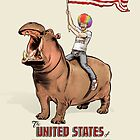 The United States of Absurdity- Rainbow Man on Hippo by James Fosdike
