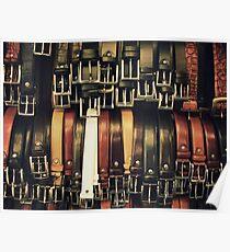 Belts at a Florence bazaar Poster