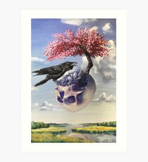 """Secondhand"" Original Oil Painting with Raven and Floating Skull Art Print"