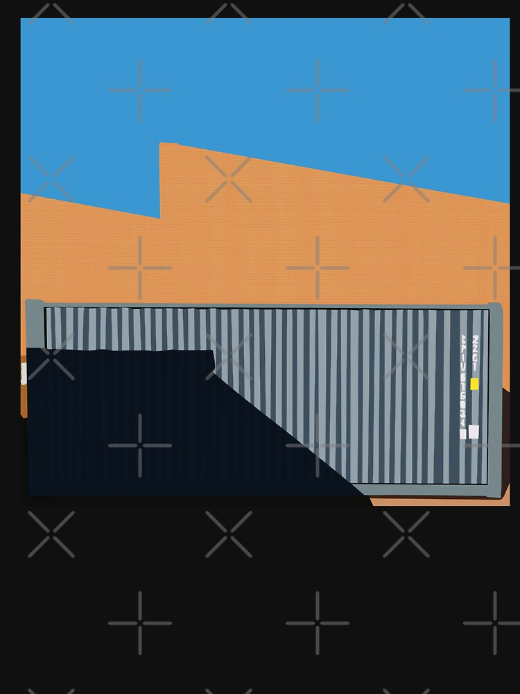 066 Gray shipping container warehouse blue sky by reapolo