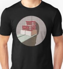 0035 Toilet Paper and Towels on a bathroom shelf - circle T-Shirt